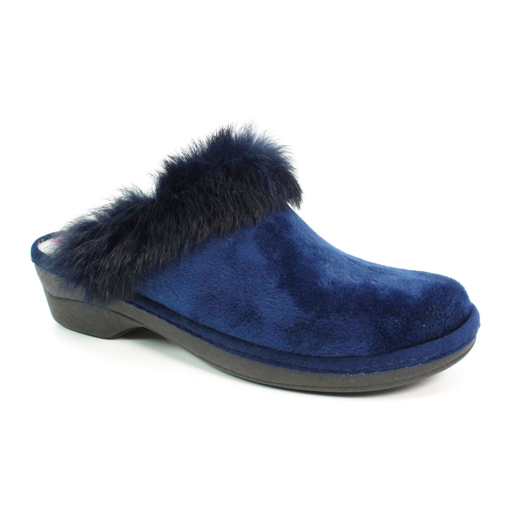 Women's Lunar Rum Fluffy Mule Slipper Blue