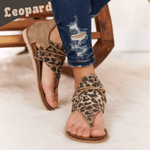 Load image into Gallery viewer, Animal Print Zipper Flat Sandals