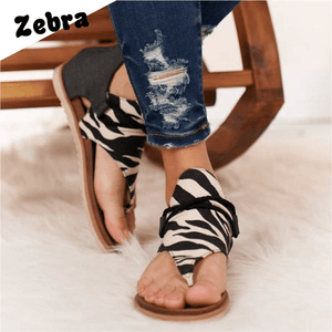 Animal Print Zipper Flat Sandals