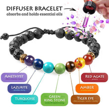 Load image into Gallery viewer, 7 Chakra Lava Stone Diffuser Bracelet
