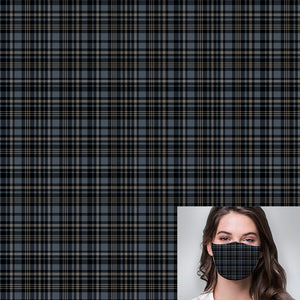 Blue Black Small Plaid Printed Mask