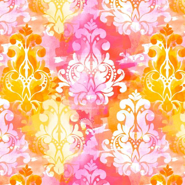 Watercolor Damask