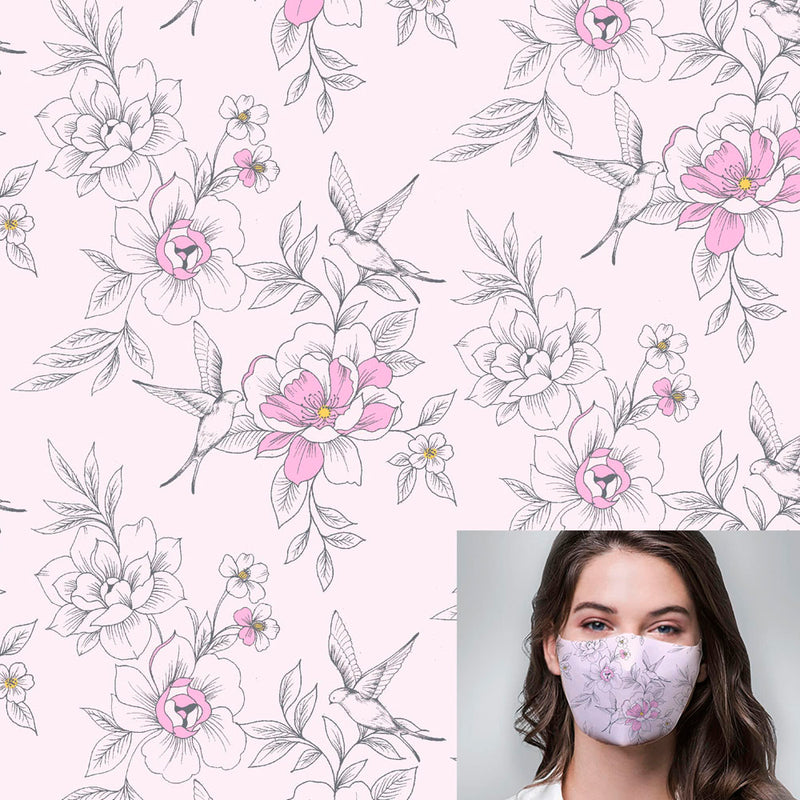 Pastel Pink Aves Floral Printed Mask