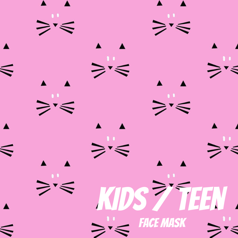 Kitten Face Youth Sized Printed Masks