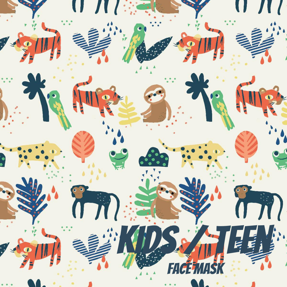 Modern Jungle Youth Sized Printed Masks