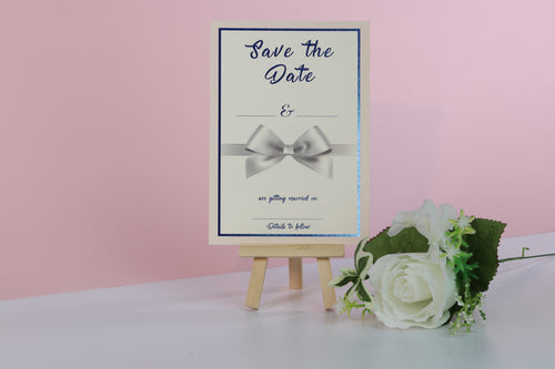 Deluxe Bow Wedding Save The Date Cards