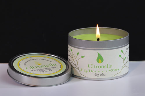 Citronella Scented Soy Wax Tin Candle (Repel Insects)