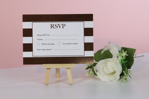 Deluxe Striped Wedding RSVP Cards