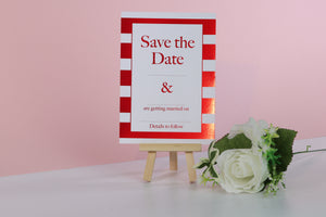 Deluxe Striped Wedding Save The Date Cards