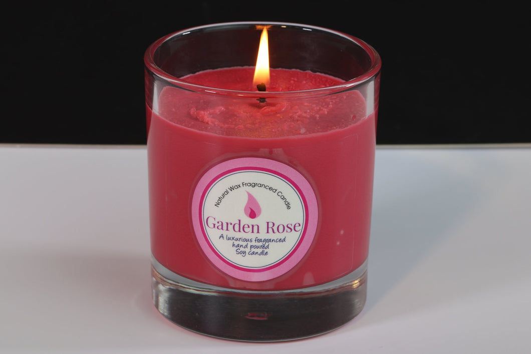 Garden Rose Scented Soy Wax Glass Container Candle
