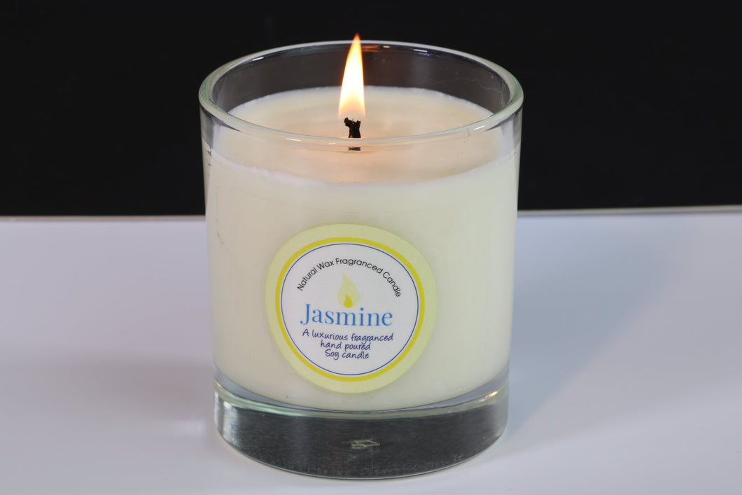 Jasmin Scented Soy Wax Glass Container Candle