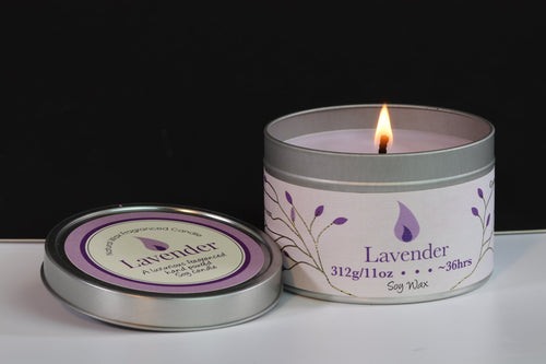 Lavender Scented Soy Wax Tin Candle