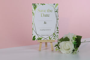 Deluxe Leaf Themed Wedding Save The Date Cards