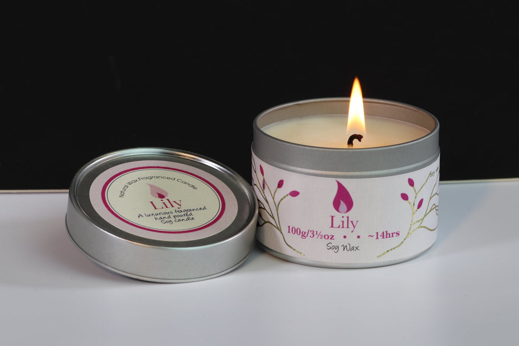 Lily Scented Soy Wax Tin Candle