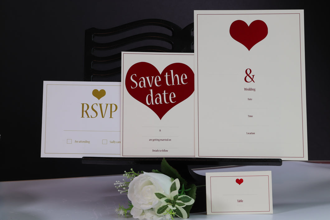 Deluxe Love Themed Wedding Stationery Set