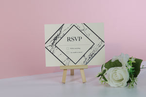 Deluxe Marble Themed Wedding RSVP Cards