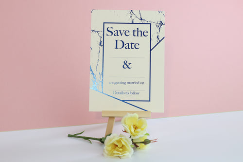 Deluxe Marble Themed Wedding Save The Date Cards