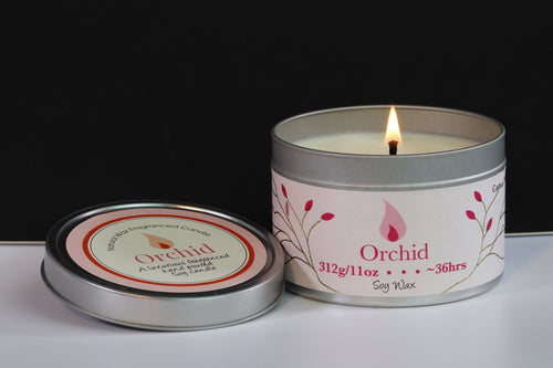 Orchid Scented Soy Wax Tin Candle