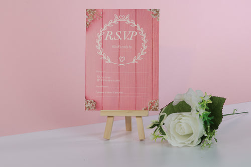 Deluxe Pink Wedding RSVP Cards