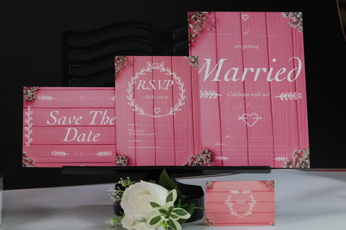 Deluxe Pink Wedding Stationery Set