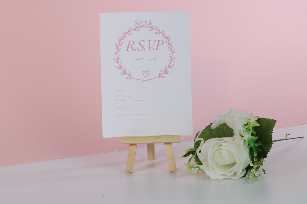 Deluxe Pink & White Wedding RSVP Cards