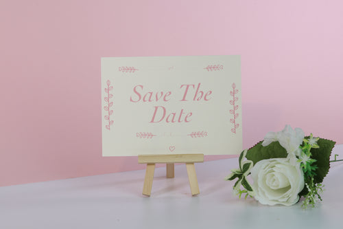Deluxe Pink & White Wedding Save The Date Cards