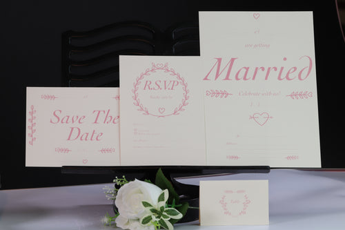 Deluxe Pink & White Wedding Stationery Set