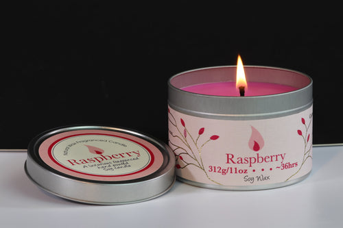 Raspberry Scented Soy Wax Tin Candle