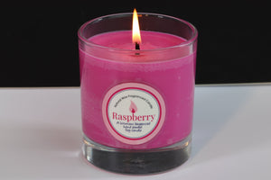 Raspberry Scented Soy Wax Glass Container Candle