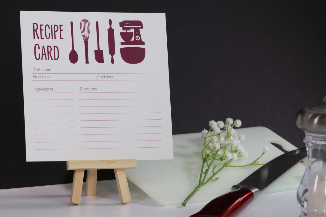 Kitchen Utensils Recipe Cards