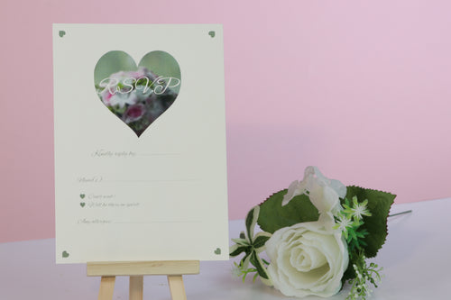 Deluxe Rose Wedding RSVP Cards
