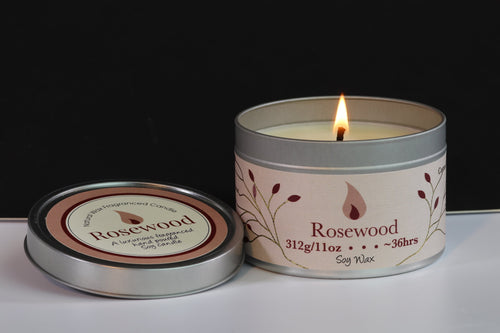 Rosewood Scented Soy Wax Tin Candle