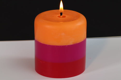 Tropical, Raspberry & Cherry Scented Pillar Candle