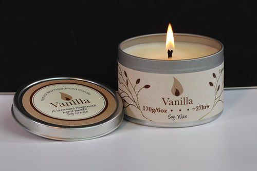Vanilla Scented Soy Wax Tin Candle