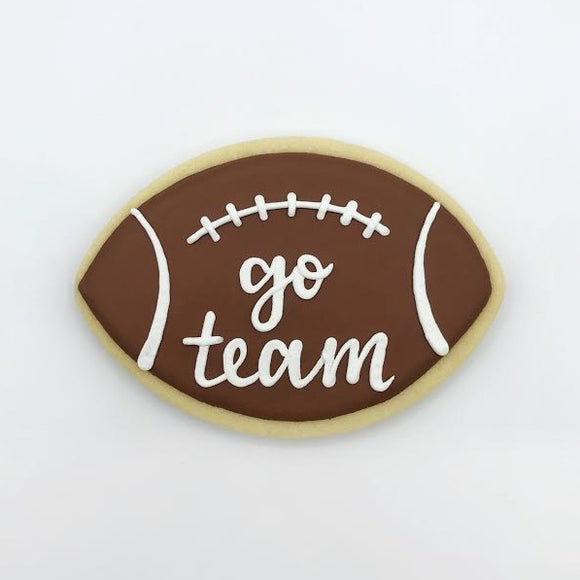 Custom decorated football with text sugar cookie by Southern Home Bakery in Orlando, Florida