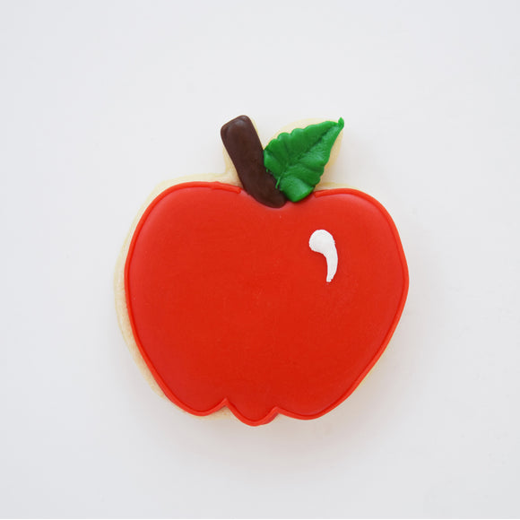 Custom decorated Apple sugar cookie by Southern Home Bakery in Orlando, Florida.