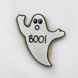 Custom decorated BOO ghost sugar cookie by Southern Home Bakery in Orlando, Florida