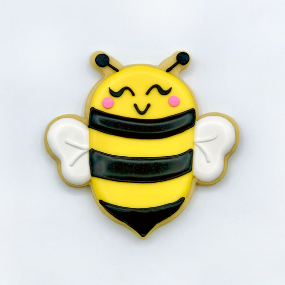 Custom decorated bee sugar cookie by Southern Home Bakery in Orlando, Florida.