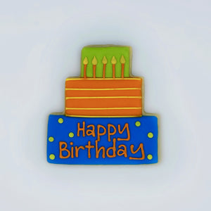 Custom decorated birthday cake sugar cookie by Southern Home Bakery in Orlando, Florida