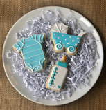 Custom decorated Blue Baby sugar cookie set by Southern Home Bakery in Orlando, Florida.