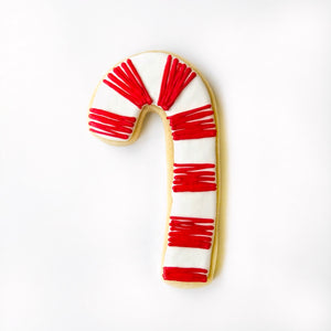 Custom decorated candy cane sugar cookie by Southern Home Bakery in Orlando, Florida