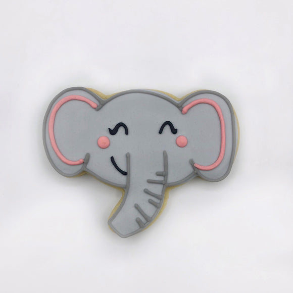 Custom decorated elephant face sugar cookie by Southern Home Bakery in Orlando, Florida