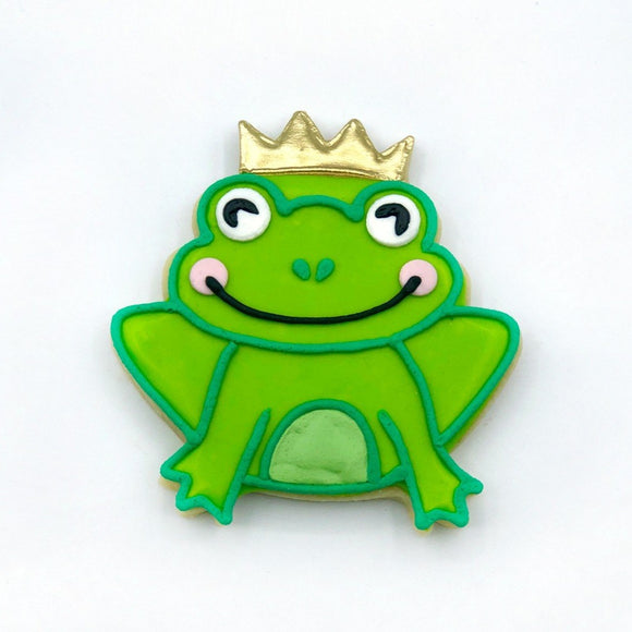 Custom decorated frog prince sugar cookie by Southern Home Bakery in Orlando, Florida.