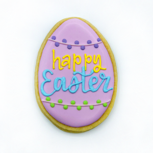 "Custom decorated ""Happy Easter"" egg sugar cookie by Southern Home Bakery in Orlando, Florida"