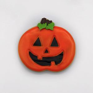 Custom decorated jack o lantern sugar cookie by Southern Home Bakery in Orlando, Florida