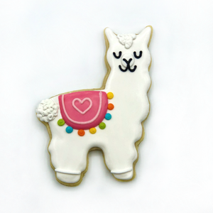 Custom decorated llama sugar cookie by Southern Home Bakery in Orlando, Florida.