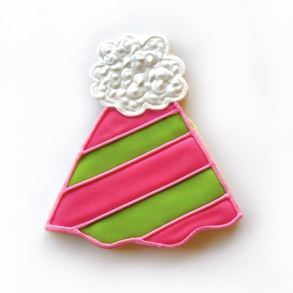 Custom decorated party hat sugar cookie by Southern Home Bakery in Orlando, Florida