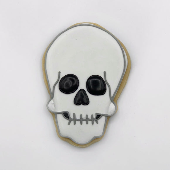 Custom decorated skull sugar cookie by Southern Home Bakery in Orlando, Florida