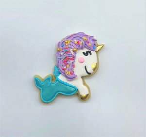 Custom decorated Unicorn Mermaid sugar cookie by Southern Home Bakery in Orlando, Florida.