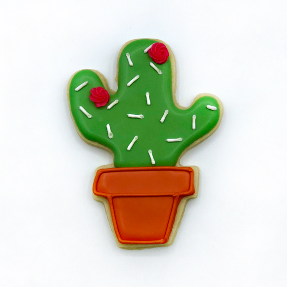 Custom decorated cactus in pot sugar cookie by Southern Home Bakery in Orlando, Florida.